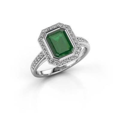 Verlovingsring Noud 2 EME 950 platina smaragd 8x6 mm
