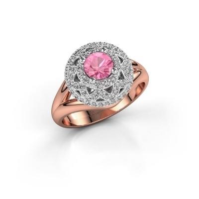Ring Leonora 585 rosé goud roze saffier 5 mm
