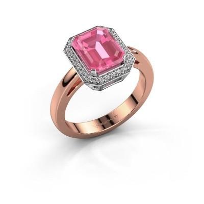 Foto van Verlovingsring Dodie 1 585 rosé goud roze saffier 9x7 mm
