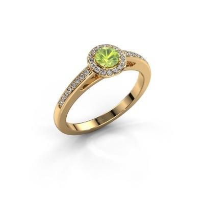Engagement ring Aaf 375 gold peridot 4.2 mm