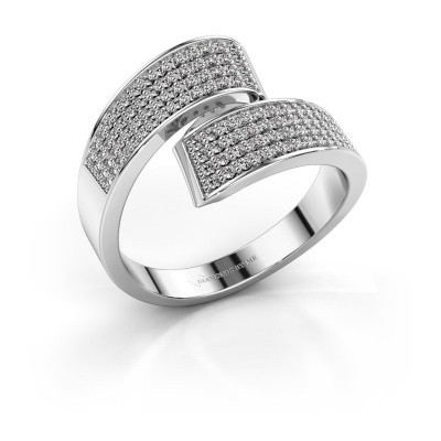 Ring Athena 585 witgoud zirkonia 1 mm