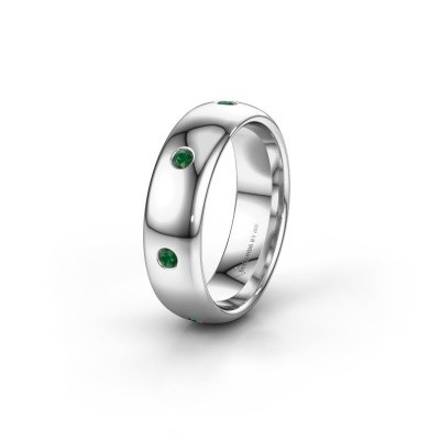 Wedding ring WH0105L36BP 585 white gold emerald ±6x2 mm