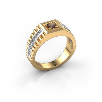 Men's ring Maikel 585 gold smokey quartz 4.2 mm