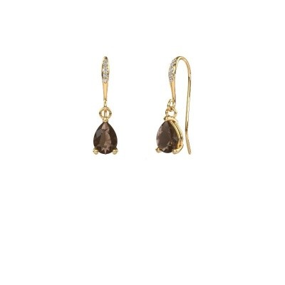 Picture of Drop earrings Laurie 2 585 gold smokey quartz 7x5 mm