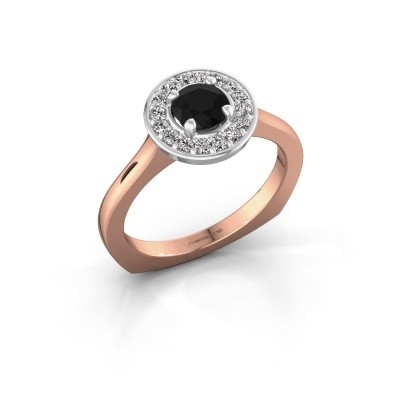Foto van Ring Kanisha 1 585 rosé goud zwarte diamant 0.792 crt