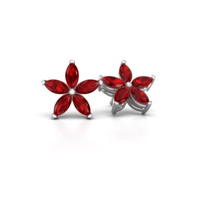 Picture of Stud earrings Sylvana 925 silver ruby 5x2.5 mm
