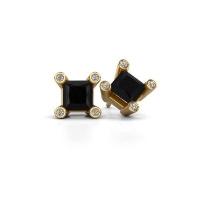 Bild von Ohrsteckers Cornelia Square 375 Gold Schwarz Diamant 1.56 crt