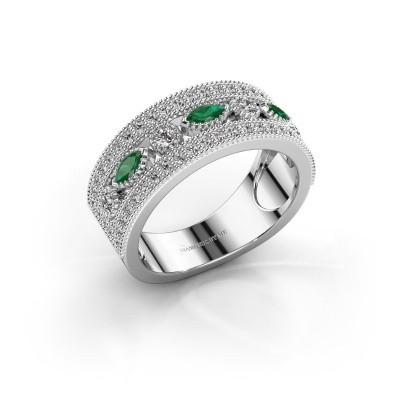 Ring Henna 585 witgoud smaragd 4x2 mm