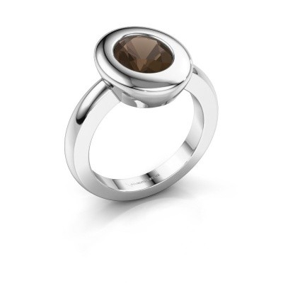 Ring Selene 1 950 platina rookkwarts 9x7 mm