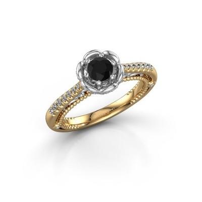 Foto van Aanzoeksring Abbey 585 goud zwarte diamant 0.642 crt