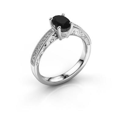 Bague de fiançailles Shonta OVL 585 or blanc diamant noir 1.09 crt