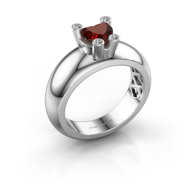 Ring Cornelia Heart 925 silver garnet 6 mm