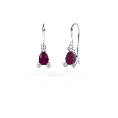 Picture of Drop earrings Bunny 1 375 white gold rhodolite 7x5 mm