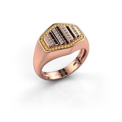 Foto van Heren ring Beau 375 rosé goud gele saffier 1 mm