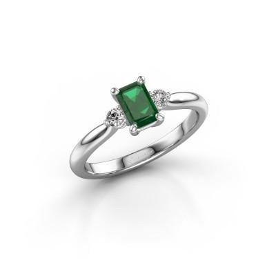 Foto van Verlovingsring Lieselot EME 950 platina smaragd 6x4 mm