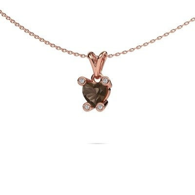 Picture of Necklace Cornelia Heart 375 rose gold smokey quartz 6 mm