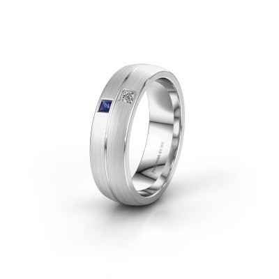 Wedding ring WH0250L26BM 585 white gold sapphire ±0.24x0.08 in