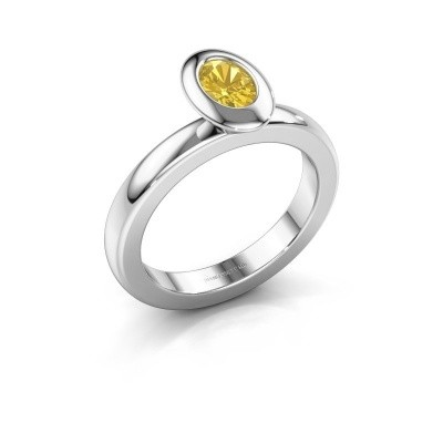 Stacking ring Trudy Oval 925 silver yellow sapphire 6x4 mm