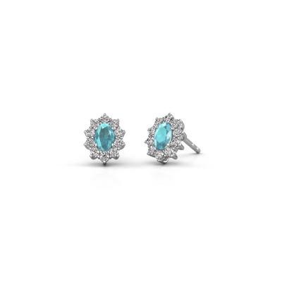 Earrings Leesa 585 white gold blue topaz 6x4 mm