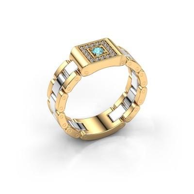 Foto van Rolex stijl ring Giel 585 goud blauw topaas 2.7 mm