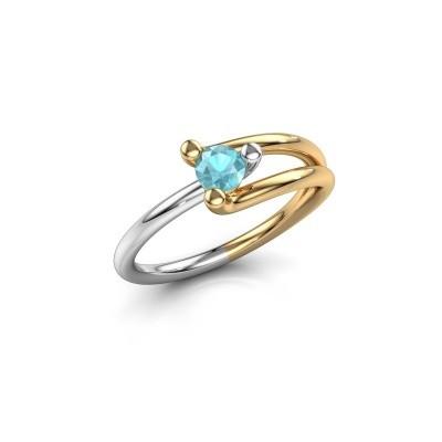 Foto van Verlovingsring Roosmarijn 585 goud blauw topaas 4 mm