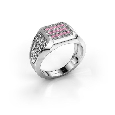 Heren ring Amir 925 zilver roze saffier 1.4 mm