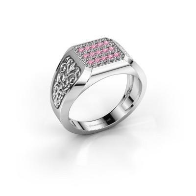 Foto van Heren ring Amir 925 zilver roze saffier 1.4 mm