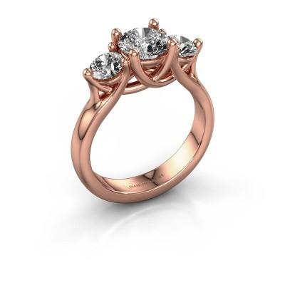 Verlovingsring Esila 375 rosé goud zirkonia 6.5 mm