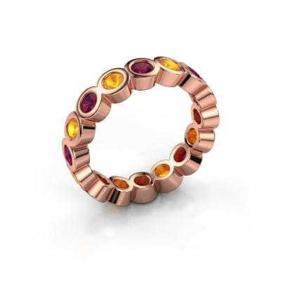Stackable ring Edwina 3 375 rose gold rhodolite 3 mm