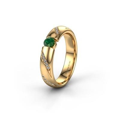 Trouwring WH2102L34A 375 goud smaragd ±4x1.7 mm