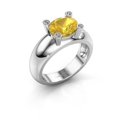 Ring Tamara OVL 585 white gold yellow sapphire 9x7 mm