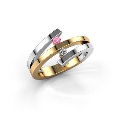 Ring Synthia 585 goud roze saffier 2.5 mm