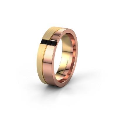 Trouwring WH0906L16A 585 rosé goud zwarte diamant ±6x1.7 mm