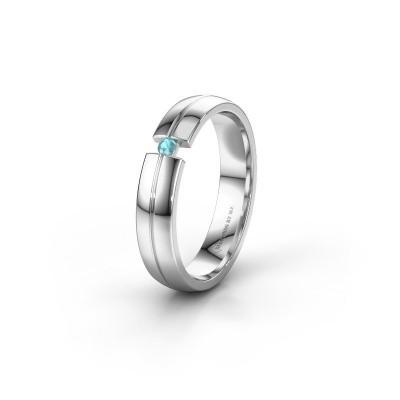 Trouwring WH0254L24X 925 zilver blauw topaas ±4x1.5 mm