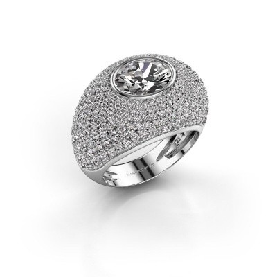 Foto van Ring Armida 585 witgoud zirkonia 9x7 mm