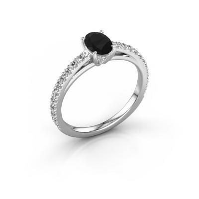 Foto van Verlovingsring Haley OVL 2 585 witgoud zwarte diamant 0.855 crt