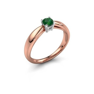 Verlovingsring Nichole 585 rosé goud smaragd 4.2 mm