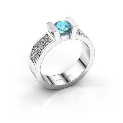 Verlovingsring Lieve 3 585 witgoud blauw topaas 5 mm
