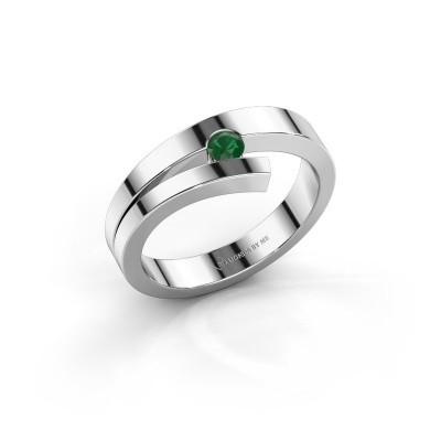 Foto van Ring Rosario 925 zilver smaragd 3 mm