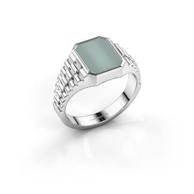 Foto van Rolex stijl ring Brent 1 585 witgoud groene lagensteen 10x8 mm