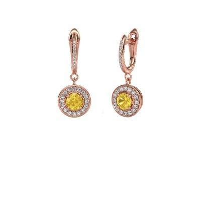 Pendants d'oreilles Ninette 2 585 or rose saphir jaune 5 mm