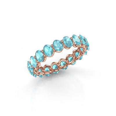 Ring Kirsten OVL 4x3 375 Roségold Blau Topas 4x3 mm