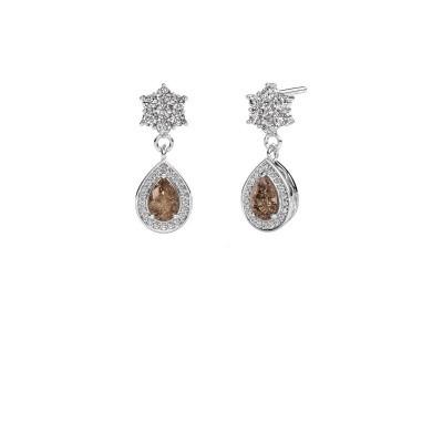 Drop earrings Era 950 platinum brown diamond 1.43 crt