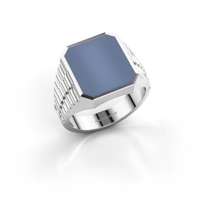 Foto van Rolex stijl ring Brent 3 585 witgoud licht blauwe lagensteen 14x12 mm