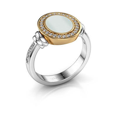 Signet ring Bailey 585 white gold green sardonyx 10x8 mm