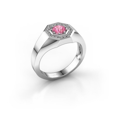 Foto van Heren ring Jaap 925 zilver roze saffier 5 mm