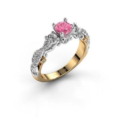 Verlovingsring Kourtney 585 goud roze saffier 5 mm