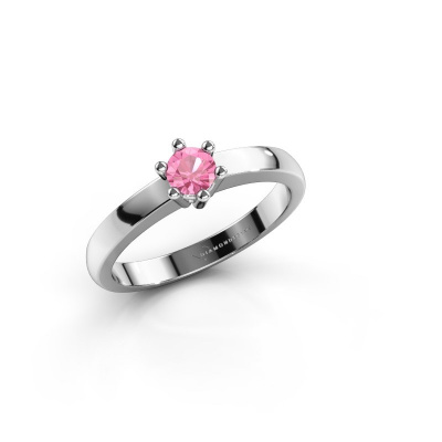 Engagement ring Luna 1 585 white gold pink sapphire 3.7 mm