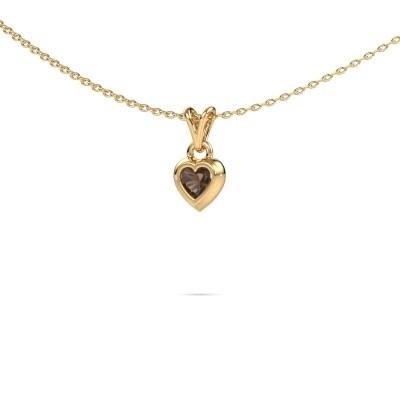 Foto van Hanger Charlotte Heart 585 goud rookkwarts 4 mm