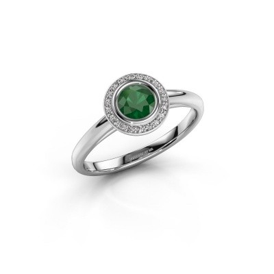 Promise ring Noud 1 RND 585 white gold emerald 4.7 mm